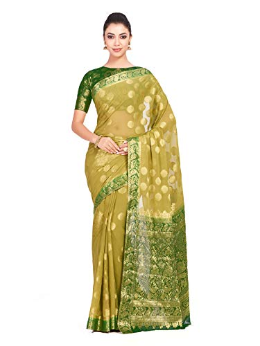 Mimosa Chiffon Wedding saree Kanjivaram pattu Style With Brocket Blouse light weight (4346-2329-2D-CHIKU-GRN)