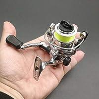 Sunshien Mini Cuerpo de Metal Completo Carrete Giratorio Ultra Suave y liviano con manija Plegable Intercambiable Izquierda/Derecha para la Pesca de Agua Salada en Barco.