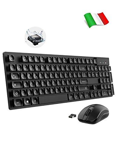 TOPELEK Tastiera e Mouse Senza Fili, Mouse e Tastiera Wireless PC per PC/Mac/Linux/Ubuntu, Keycaps di Goccioline d'Acqua, Combo Tastiera Senza Fili Impermeabile e Mouse Wireless per Windows, Mac OS