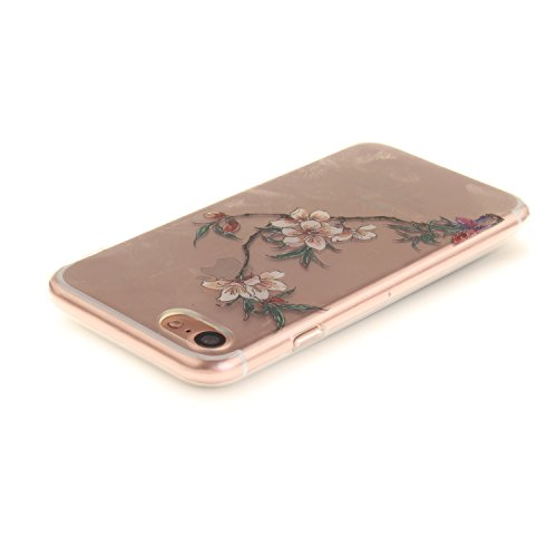 iPhone 7 Hülle,iPhone 7 Hülle Case,iPhone 7 Silikon Hülle [Kratzfeste, Scratch-Resistant], Cozy Hut iPhone 7 (4,7 Zoll) Hülle TPU Case Schutzhülle Silikon Crystal Kirstall Clear Case Durchsichtig, Far Azaleen