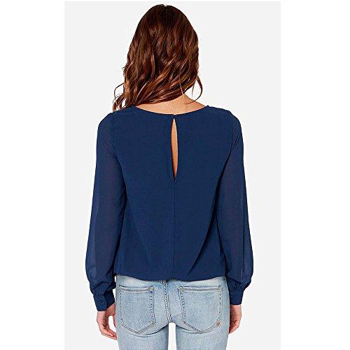 BIUBIONG Femme T-shirt Col Rond Manche Longue Tunique Top Blouse Hauts Casual Sexy Chic Mode Automne Bleu