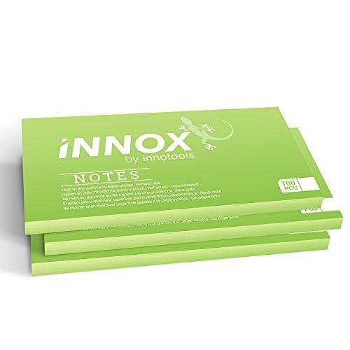 Elektrostatisch selbstklebende Haftnotiz klein | Für alle Oberflächen - Innovative Sticky Notes ohne Klebstoff von INNOX | Ideen visualisieren, verschieben, strukturieren | Grün, 10x7cm, 300 Blatt