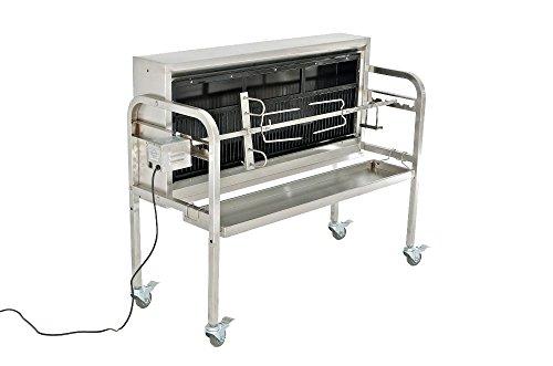 CLP Edelstahl Spanferkel-Grill Barny – mit Motor | Holzkohlegrill | mehrere Funktionen | Aufsteckfläche: 101 cm | Belastbar bis 70 kg Silber