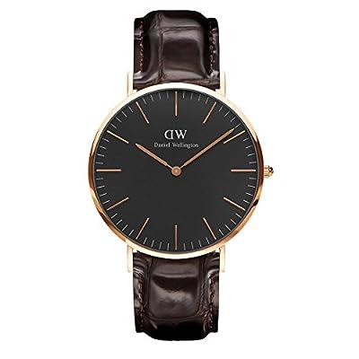 Daniel Wellington DW00100128 - Reloje acero inoxidable con correa de piel, Unisex, color negro / marrón, cubierta de acero inoxidable, oro rosa de Daniel Wellington