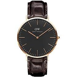 Daniel Wellington DW00100128 - Reloje acero inoxidable con correa de piel, Unisex, color negro / marrón, cubierta de acero inoxidable, oro rosa