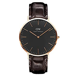 Daniel Wellington DW00100128 – Reloje acero inoxidable con correa de piel, Unisex, color negro / marrón,  cubierta de acero inoxidable, oro rosa