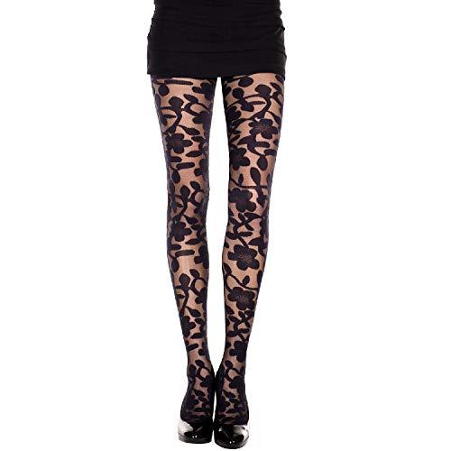 Music Legs Damen Strumpfhose, gewebt, florales Design, Spandex - Schwarz - Einheitsgröße -