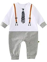 6ed4cb50b403c GEMVIE Combinaison Bébé Fille Garçon Grenouillère Nouveau-Né Respirant Body  Manches Longues Pyjama en Coton Barboteuse Mignon…