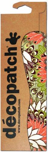 Decopatch - Confezione di 3 fogli di carta decorativa, motivo piume di pavone, 395 x 298 mm, colore: arancione/bianco/verde