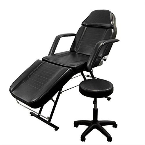 Nuovo massaggio tavolo letto sedia bellezza sedia da barbiere facciale tatuaggio sedia salone attrezzatura include sgabello (nero)