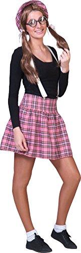 Kostüm Rock Schulmädchen Nerd rosa Dame Karneval Schule Damenkostüm Größe (Kostüme Nerd Schule)