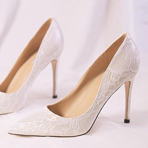 MUMA Pumps Hochzeit Schuhe weibliche Spitze High Heel Nude Farbe wies fein mit einzelnen Schuhe weibliche weiße Hochzeit Braut Schuhe Bankett Schuhe ( Farbe : Weiß , größe : EU39/UK6/CN39 )