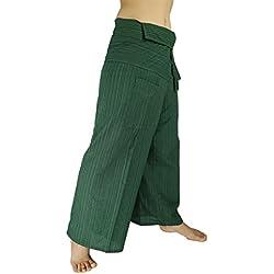 Rosina de Unisex Thai Pescador Yoga pantalones pantalones baggy rayas algodón negro Verde Mar Talla única