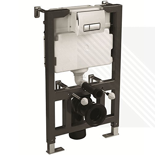 CYCLONE CONCEALED UNIVERSAL 0.82M - 1.00M WALL HUNG WC FRAME AND CISTERN WITH FLUSH PLATE by Arley Professional: Cyclone - Button Wall Plate