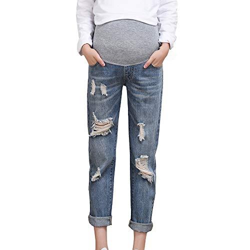 Luoluoluo Pantaloni PremamanJeans Denim Premaman Pantaloni da Gravidanza Denim MaternityAbbigliamento Premaman