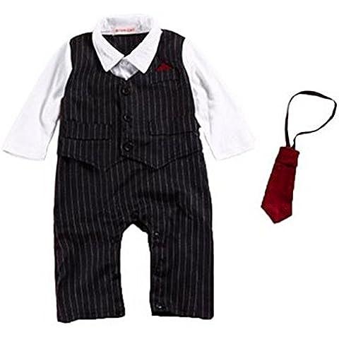 Highdas Neonati Bambino Gentleman Manica Lunga pagliaccetto ragazzi stampa battesimo Abito da sposa del Bambino Natale Jumpsuit + Vest + Tie + Topper 4pcs (6-18 mesi)