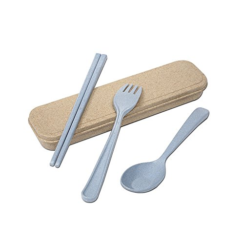 Tentock Wheat Straw Plastic Cutlery Set Biodegradable 3-in-1 Travel Flatware Set Spoon Fork Chopsticks with Package Box(blue)