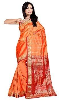 Light Orange zari work embroidered pure kanjivaram silk sarees