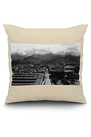 Honolulu, Hawaii View of City from Aloha Tower Photograph (20x20 Spun Polyester Pillow Case, White Border)