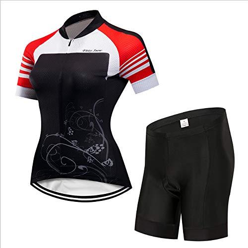 YDJGY Sommer Damen Fahrrad Jersey Kurzarm Anzug, Feuchtigkeitstransport Outdoor Mountainbike Radfahren Sportbekleidung Anzug