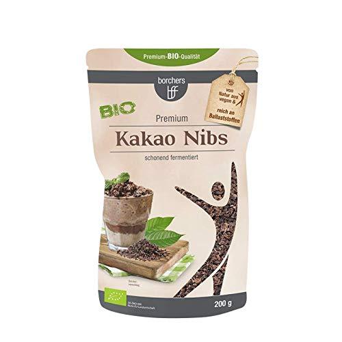 borchers Bio Kakaonibs | Bio-Qualität | Roh | Von Natur aus Vegan | Schonend fermentiert | 200 g