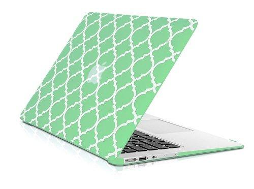 Topcase Vierpass-/Marokkanische-Gitter Ultra Slim Light Gewicht Gummierte Hartschalenhülle für MacBook Air 27,9cm Modell: A1370und A1465 grün (Macbook Air-top-case)