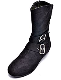 Bruno Manetti Women Suede Leather Black Boots