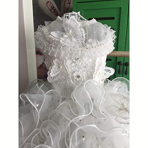 WHZWH Pet Brautkleid, Hund Braut Kostüm Fantasy blau Mehrschichtige Mesh Flauschigen Rock Extra Langer Schwanz Spitze Design Geeignet für Hochzeit Foto Festival Party,White,XL
