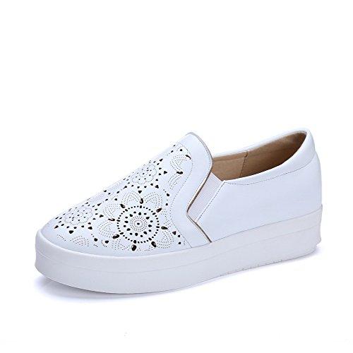 AgooLar Femme Rond à Talon Bas Matière Souple Couleur Unie Tire Chaussures Légeres Blanc