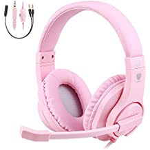 BlueFire 3.5mm Bass Stereo Over Ear Gaming Headphone PS4 Gaming Headset With Microphone And Volume Control For PS4 / New Xbox One / Xbox One S / Xbox One X / Nintendo Switch / PC / Phones Pink
