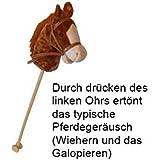 Braunes Steckenpferd Slh 2111 Steckenpferd braun | Stabpferd mit Stab | Für viele Generationen: Kinderpferd aus Holz | Kopf aus Plüsch | Wiehergeräusche |