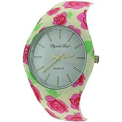 Elizabeth Rose Cream Pink Floral Vintage Design Ladies Quartz Watch (03d)