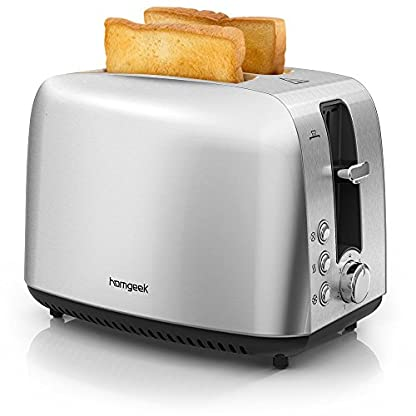 Homgeek-Toaster-2-Scheiben-Abnehmbarer-Krmelschublade-7-Brunungsstufen-und-Abtau-Modus-BPA-Free-Rostfreier-Stahl-850-Watt