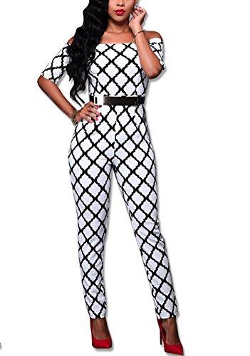 Brinny Sexy manches courtes imprimés Bodycon Party Clubwear Combinaisons de grenouillères des femmes 5 Couleur 4 tailles: S-XL Blanc