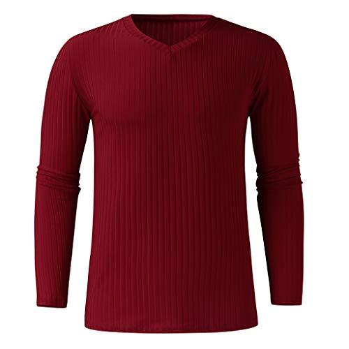 BHYDRY Herrenmode-Trend Lässig und bequem Nähte Pocket Sweater(XXX-Large,Rot) -