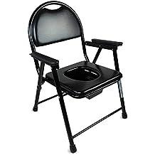 Silla con WC/inodoro | De acero cromado, plegable, con conteras antideslizantes, asiento y reposabrazos acolchados | Mod. Guadalquivir | Mobiclinic