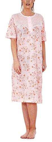 i-Smalls Damen Nachtwäsche Rundhalsausschnitt Button Wild Floral Printed Kurzarm Lange Nachthemd mit lila Augenmaske (M) Peach Clover