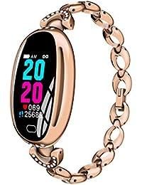 Smart Watch mit Milanese Edelstahlarmband für AK16 Frauen Armband Pulsmesser Blutdruck Fitness Sweat und Wasserdicht Kompatibel Smartwatch Smartphone Bluetooth für Damen (B)