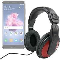 DURAGADGET Auriculares De Diadema para Smartphone Huawei P Smart - Negro Y Rojo - con Cable