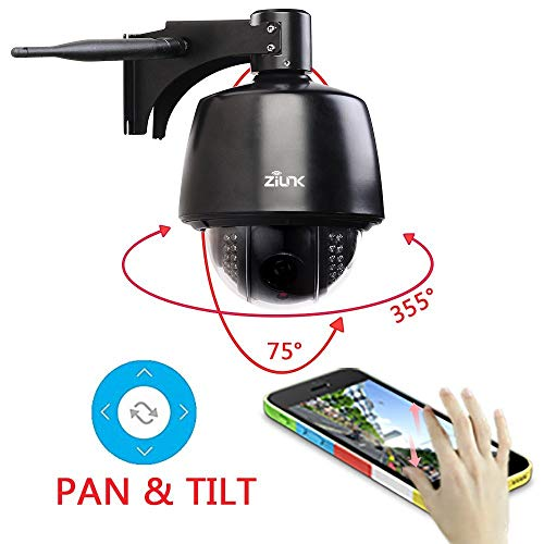 ZILNK 1080P Outdoor Wireless IP Kamera, WiFi PTZ Schwenk/Neige/Zoom Überwachungskamera Aussen, 5X Optischer Zoom, IR Nachtsicht, Wasserdicht IP65, mit Audio und SD Kartenteckplat, Bewegungswarnung