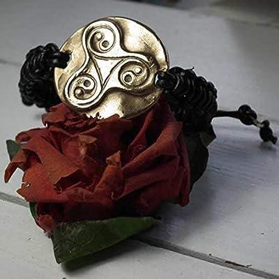 Bracelet unisexe ajustable, bijou celtique/viking/wicca/breton/shinto, triskel-yin/Yang bronze couleur or+ macramé cuir noir, pour homme et femme, cuivre ou bronze coul.argent possibles