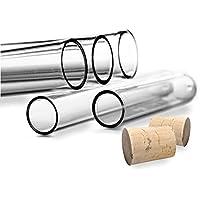 Tubos de ensayo, con tapones de corcho natural, plástico, alta calidad, 100 unidades - 105 x Ø 17mm