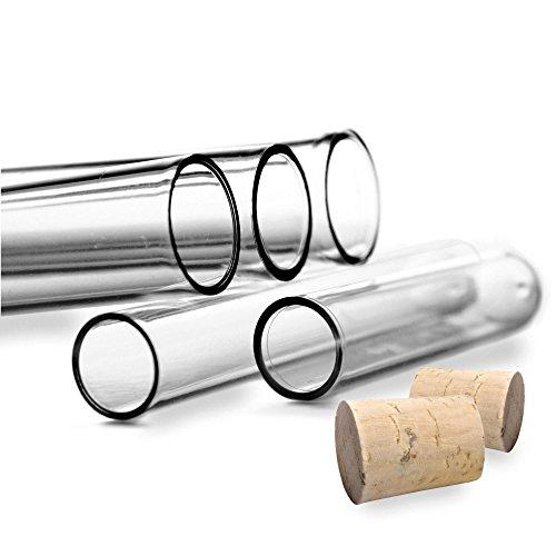 Tuuters 100x Kunststoff Reagenzgläser mit Natur-Korken | Reagenzröhrchen ✓ Hochwertig (100 x Ø 16mm)