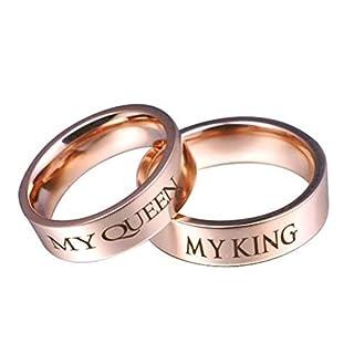 Daesar Damen Ringe Herren Ringe Edelstahl Ringe Paar Ringe Graviert My QUEEEN My King Rund Breite 6 MM Rosegold Eherringe Freundschaftsing Damen Gr.54 (17.2) & Herren Gr.57 (18.1)