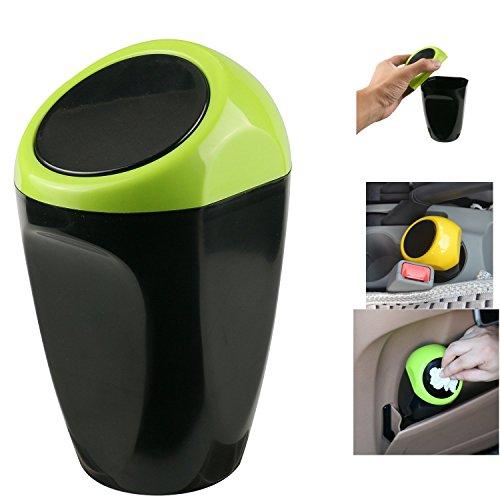 Auto Mülleimer, Timorn auto müllbehälter Mini mülleimer mit Federabdeckung, Perfekte Passform für die Auto Center Konsole, Lagerung von Münzen, Stift und ändern (Grün)