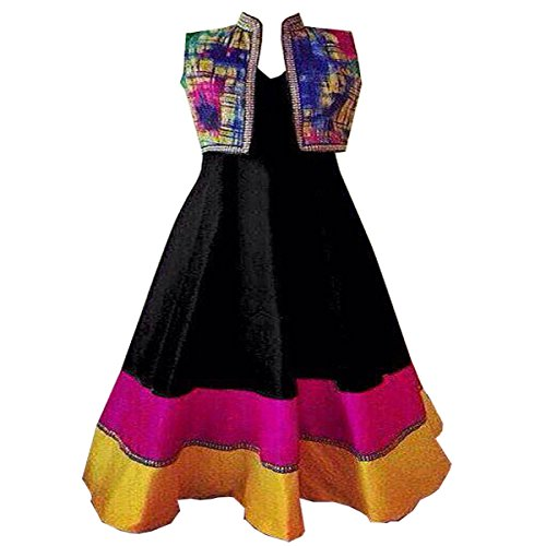 Clickedia Women\'s Semi-stitched printed koti with banglori Black Anarkali Dress Material