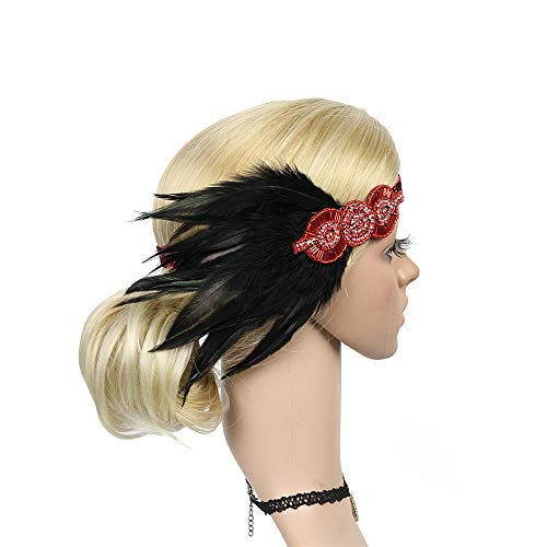 BDToy 1920s Stirnband Damen Gatsby Kostüm Accessoires 20er Jahre Flapper Feder Haarband