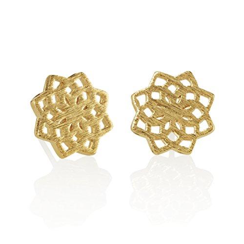 NAMANA Mandala Ohrstecker, gebürstetes Finish, verschiedene Gold und Silber Finish, geometrische Ohrringe, nickelfreie und bleifreie Ohrringe, Mandala Blumen Schmuck (Gold, Vergoldet)