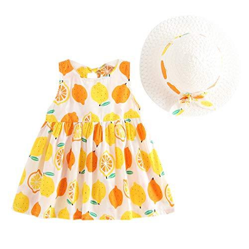 squarex Kleinkind Baby Kinder Mädchen Kinder Sleeveless Sommer Frische Obst Druck Erdbeer Ananas Orange Kleid Prinzessin Kleid ()
