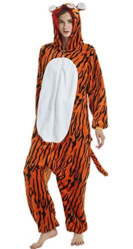 Erwachsene und Kinder Unisex Einhorn Tiger Lion Fox Onesie Tier Schlafanzug Cosplay Pyjamas Halloween Karneval Kostüm Loungewear (Tiger, XL passt Höhe - Kind Tiger Pyjama Kostüm